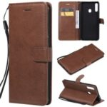 Leather Stand Wallet Phone Cover Case for Samsung Galaxy A20s – Brown