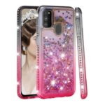 Gradient Glitter Powder Quicksand Rhinestone Decor TPU Shell for Samsung Galaxy M30s – Grey / Rose