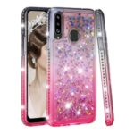 Gradient Glitter Powder Quicksand Rhinestone Decor TPU Cover for Samsung Galaxy A20s – Grey / Rose