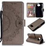 Imprint Flower Leather Wallet Stand Case for Samsung Galaxy S6 G920 – Grey
