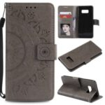 Imprint Flower Magnetic Leather Wallet Case for Samsung Galaxy S8 SM-G950 – Grey