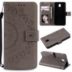 Imprint Flower PU Leather Wallet Case for Samsung Galaxy J3 Pro (2017) / J3 (2017) EU Version – Grey