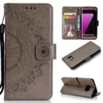 Imprint Flower Leather Wallet Case for Samsung Galaxy S7 edge SM-G935 – Grey