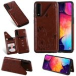 Imprint Cat and Bee Kickstand Card Holder PU Leather Coated TPU Shell for Samsung Galaxy A50/A50s/ A30s – Brown