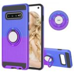 Finger Ring Kickstand Gradient Color Detachable TPU + PC Combo Case for Samsung Galaxy S10 Plus (Built-in Metal Sheet) – Blue / Purple