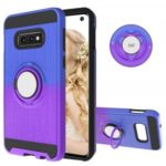 Finger Ring Kickstand Gradient Color Detachable TPU + PC Hybrid Case for Samsung Galaxy S10e (Built-in Metal Sheet) – Blue / Purple