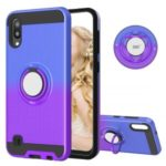 Finger Ring Kickstand Gradient Color Detachable TPU + PC Hybrid Shell for Samsung Galaxy M10/A10 (Built-in Metal Sheet) – Blue / Purple