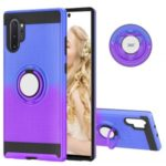 For Samsung Galaxy Note 10 Plus 5G/Note 10 Plus Gradient Color 2 in 1 360 Degree Ring Mobile Cell Case – Blue/Purple