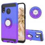 Finger Ring Kickstand Gradient Color Detachable TPU + PC Combo Case for Samsung Galaxy M20 (Built-in Metal Sheet) – Blue / Purple