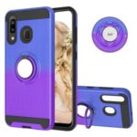 For Samsung Galaxy A20/A30/A50/A30s/A50s TPU+PC Gradient Color 2 in 1 360 Degree Ring Kickstand Shell – Blue/Purple