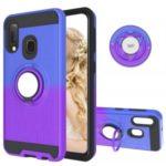 For Samsung Galaxy A20e/A10e Gradient Color 2 in 1 360 Degree Ring Kickstand Cell Case – Blue/Purple