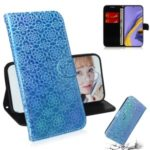 Pure Color Leather Phone Case with Wallet Stand for Samsung Galaxy A51 – Blue