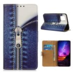 Pattern Printing Leather Wallet Stand Case for Samsung Galaxy S11 – Jeans Metal Zipper