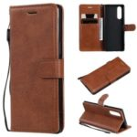 Wallet Leather Stand Case for Sony Xperia 5 – Brown