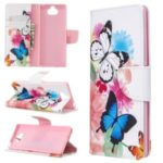 Pattern Printing Wallet Stand Flip Leather Phone Case for Sony Xperia 8 – Beautiful Butterfly