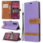 Bi-color Jeans Cloth Leather Wallet Case Shell for Sony Xperia 5 – Purple