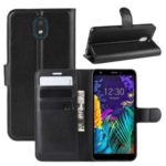 Litchi Skin Leather Wallet Stand Phone Cover Case for LG K30 (2019) – Black