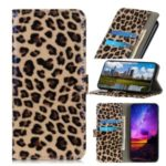 Glossy Leopard Texture Leather Wallet Stand Case for LG K40S