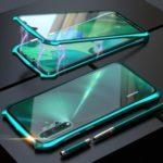 Bat Style Magnetic Installation Metal Frame + Tempered Glass Phone Case for Huawei Nova 5/Nova 5 Pro – Green
