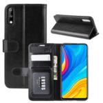 Crazy Horse Wallet Leather Stand Case for Huawei Enjoy 10 – Black