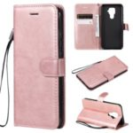 Solid Color Wallet Leather Stand Cell Phone Case for Huawei Mate 30 Lite/nova 5i Pro – Rose Gold