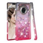 Gradient Glitter Powder Quicksand Rhinestone Decor TPU Back Case for Huawei Mate 30 Pro – Grey / Rose