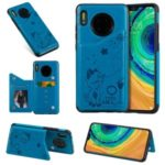 Imprint Cat and Bee Kickstand Card Holder PU Leather Coated TPU Phone Case for Huawei Mate 30 – Blue