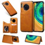 PU Leather Coated TPU Cover Phone Case with Card Slots for Huawei Mate 30 Pro – Brown