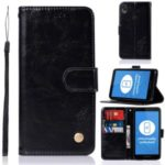Premium Vintage Leather Wallet Case for Motorola Moto E6 – Black
