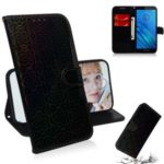 Pure Color Shiny Leather Wallet Stand Phone Shell with Strap for Motorola Moto E6 – Black
