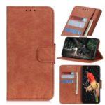 Litchi Skin PU Leather Wallet Case for Motorola Moto G8 – Brown