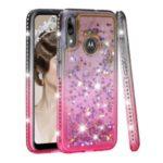Gradient Glitter Powder Quicksand Rhinestone Decor TPU Case for Motorola Moto E6 Plus / E6s – Grey / Rose