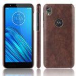 Litchi Skin Leather Coated PC Hard Case for Motorola Moto E6 – Brown