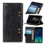 Rivet Decorated Leather Wallet Shell Case for Motorola Moto E6 Play – Black