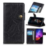 S Shape Crazy Horse Skin Leather Shell for Motorola Moto E6 Play – Black