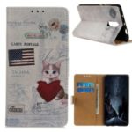 Printing Leather Wallet Shell Case for Xiaomi Redmi 8 – Cat Holding Heart