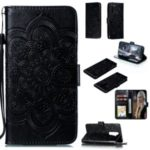 Imprint Mandala Flower Wallet Leather Stand Case for Xiaomi Redmi Note 8 – Black