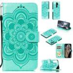 Imprint Mandala Flower Leather Wallet Case for Xiaomi Redmi Note 8 Pro – Cyan