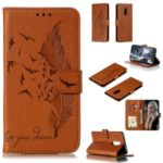 Litchi Skin Imprint Feather Wallet Stand Leather Case for Xiaomi Redmi 8 – Brown