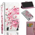 Light Spot Decor Pattern Printing Leather Wallet Phone Cover with Strap for Xiaomi Mi 9 Pro – Cat and Flower Tree