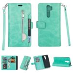 Multi-slot Wallet Zippered Leather Cover Stand Case for Xiaomi Redmi Note 8 Pro – Green