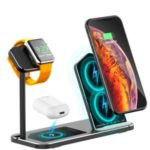 3 in 1 Desktop Aluminum Alloy Wireless Charger Station for iPhone/Apple Watch/Airpods (AJWXC005) – Black