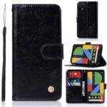 Premium Vintage Leather Wallet Shell for Google Pixel 4 – Black