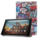 Pattern Printing Leather Tablet Cover with Tri-fold Stand for Amazon Fire HD 10 (2019) – Graffiti Pattern