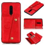 Kickstand Card Holder PU Leather Coated TPU Cover [Built-in Vehicle Magnetic Sheet] for OnePlus 7 Pro – Red