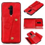 Kickstand Card Holder PU Leather Coated TPU Case [Built-in Vehicle Magnetic Sheet] for OnePlus 7T Pro – Red