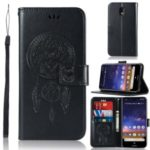 Imprinted Dream Catcher Owl PU Leather Wallet Case for Nokia 2.2 – Black