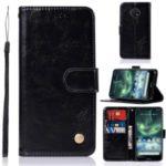 Premium Vintage Leather Wallet Case for Nokia 7.2 / 6.2 – Black