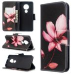 Pattern Printing Wallet Stand Leather Phone Cover for Nokia 7.2 / Nokia 6.2 – Red Flower