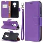 Litchi Texture Leather Wallet Stand Phone Cover with Strap for Nokia 7.2 / Nokia 6.2 – Purple